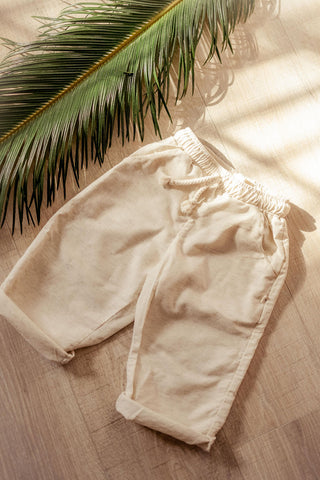 Hemp Kids Drawstring Pants in Flax