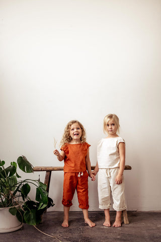 Hemp Kids Boxy Tee in Flax