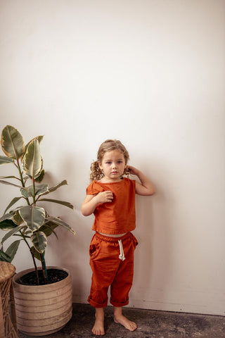 Hemp Kids Drawstring Pants in Burnt Orange