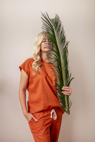 Hemp Adult Boxy Tee in Burnt Orange