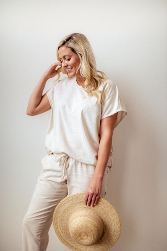 Hemp Adult Boxy Tee in Flax
