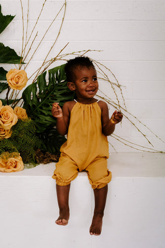 Lucy baby toddler romper jumpsuit mustard yellow