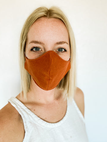 Hemp Adult & Children's Face Masks in Burnt Orange
