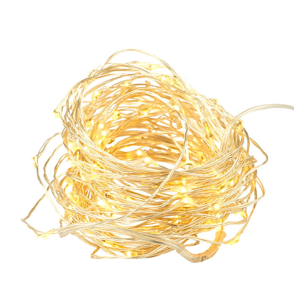 Small bright LED Christmas lights on silver wire