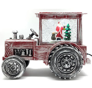 Santa in Tractor LED 31cm
