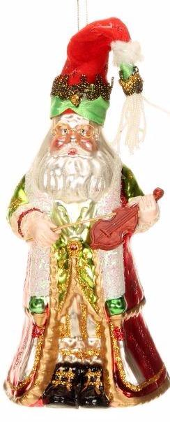 Glass Santa w/Violin Mark Roberts 18cm