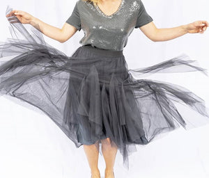 Charcoal Tulle Skirt