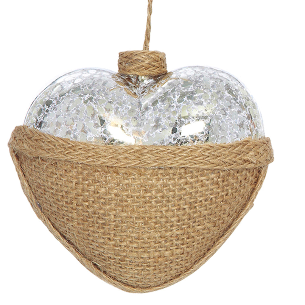 Heart Ornament Mercury Glass & Burlap