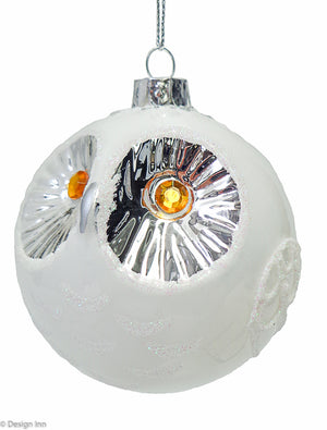 Glass Owl Ball Ornament 8cm