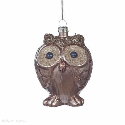 Glass Owl Ornament 9cm