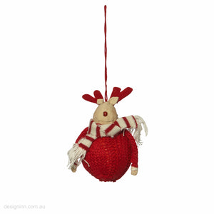 Winter Wooly Deer Orn Red 11cm