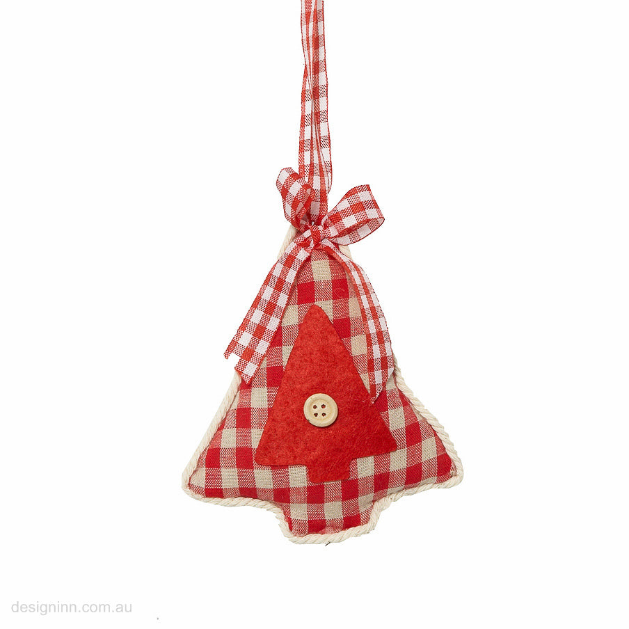 Tree with Button Gingham Orn Piped Edge Red 11cm