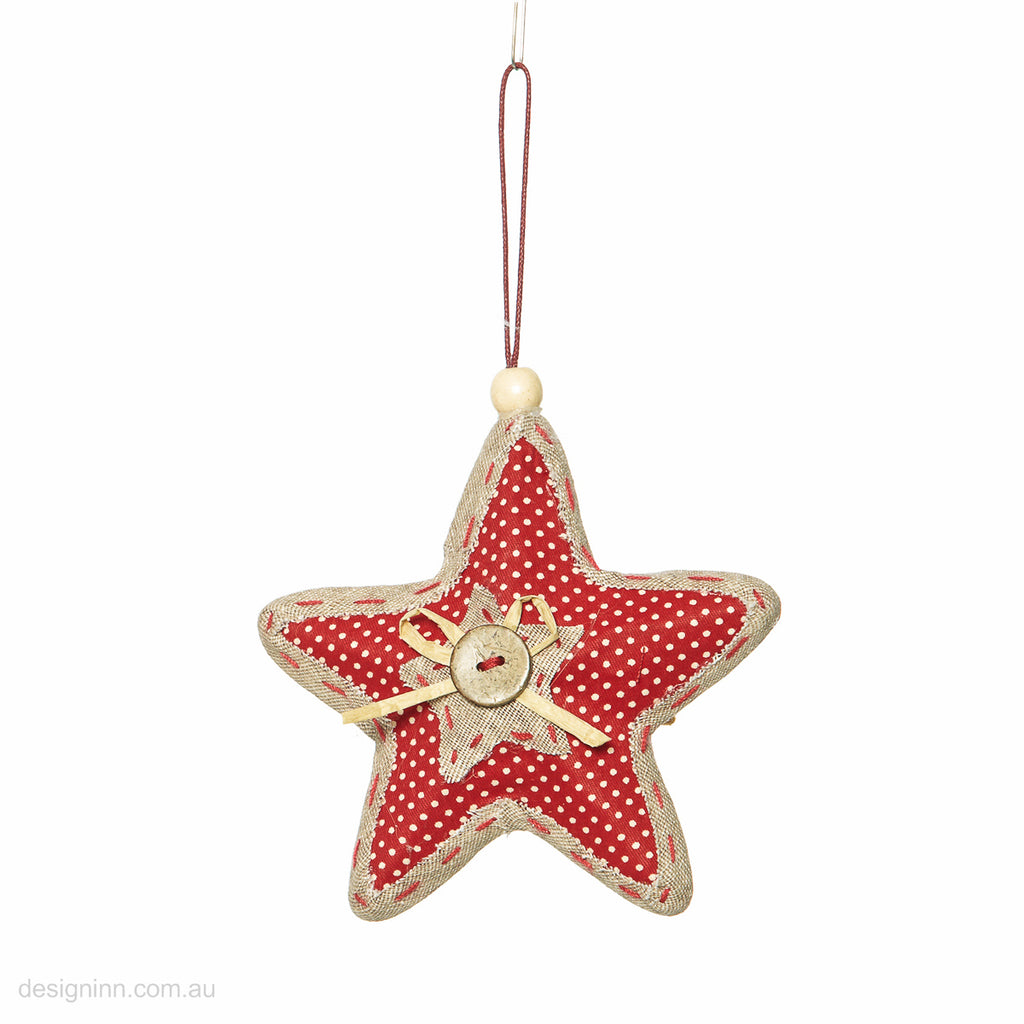 Star with Button Red Brown 12cm