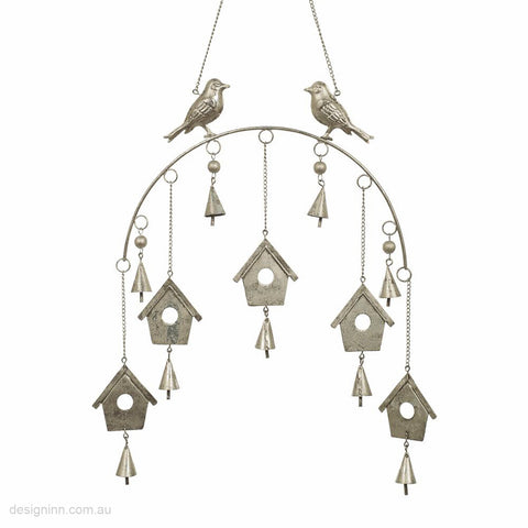 Birds with Houses Mobile Silver 35cm