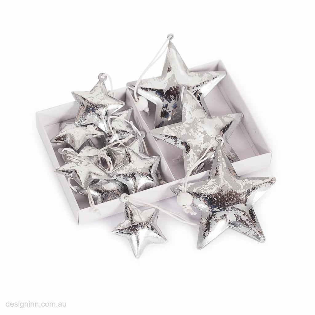 Box of 12 Star Ornaments Assorted Silver