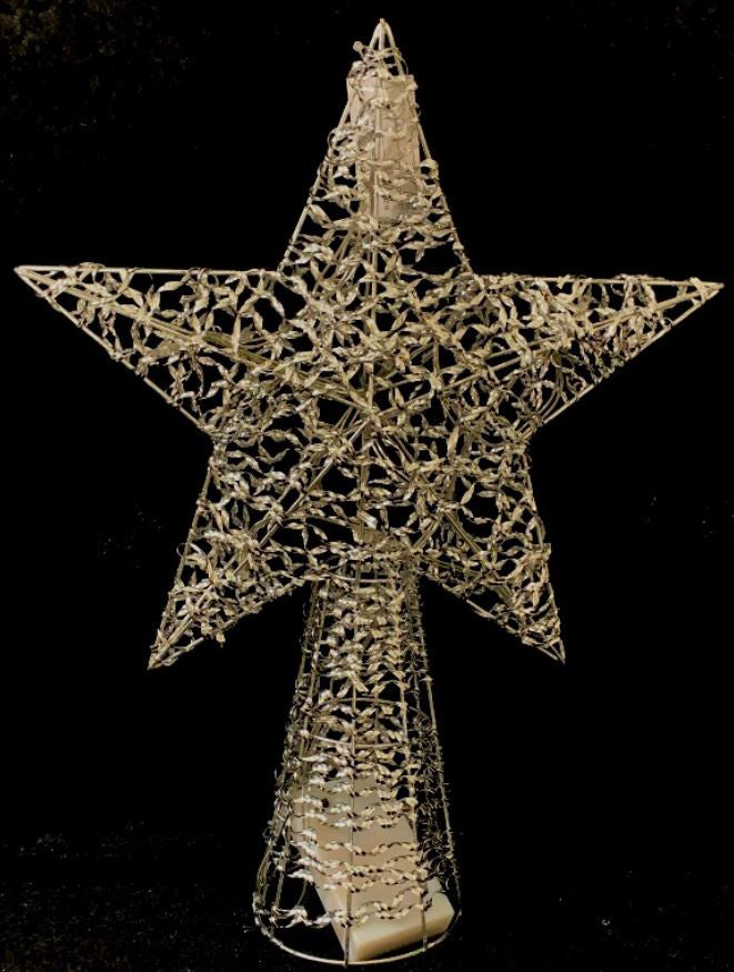 Star Tree top Silver LED 41cm