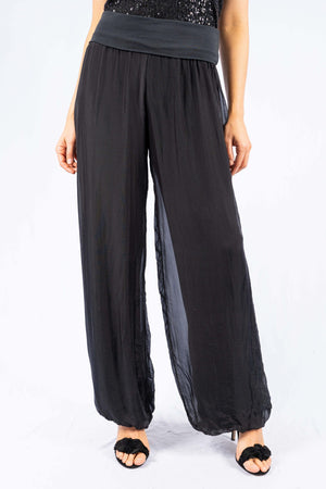 Straight Black Silk Pant