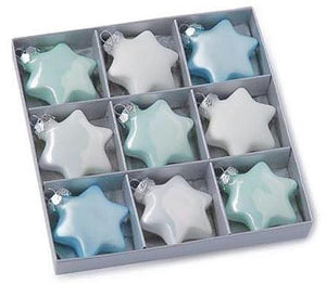 9x Glass Star Blue White 3.5cm