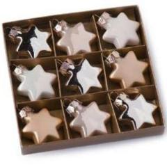 Box of Glass Stars Champagne 9pc 4cm