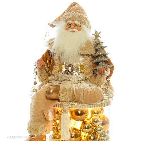 Gold Santa Sitting on LED Drum 50cm