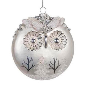Glass Owl Disc Silver White 12cm