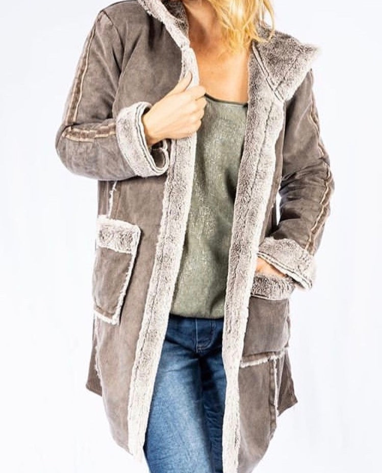 Soft Hooded Coat with faux