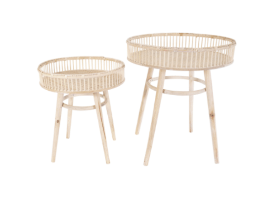 Kraft Whitewash Bamboo Table Set 2