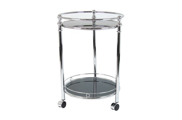 King Silver Trolley Black Glass Round