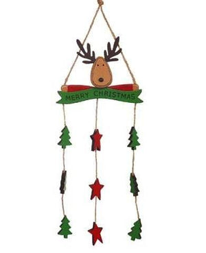 Wooden Reindeer Mobile w Trees & Stars Red & Green 35cm
