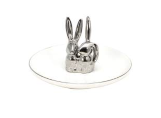Thommy Cermic White DBL Bunny on Plate