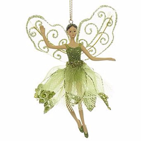 Ballerina Fairy Ornament Green 11cm