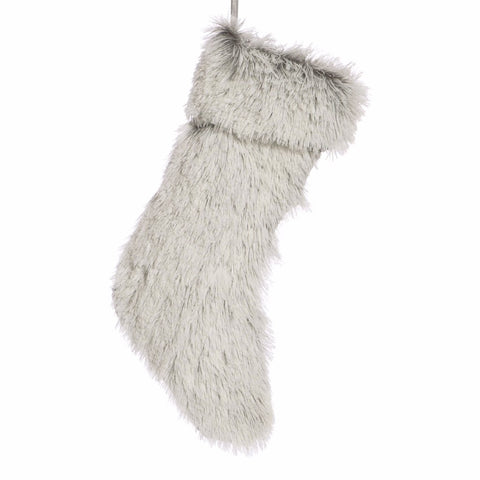 Fur Christmas Stocking Grey 45cm