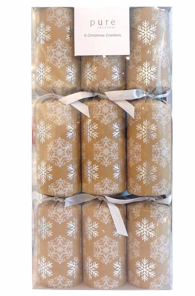 6 Premium Crackers Craft Paper w/silver Snowflake