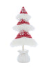 Fur Lined Fabric Tree in Pot Red White 50cm