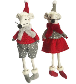 Festive Mice Sitting Red 27cm