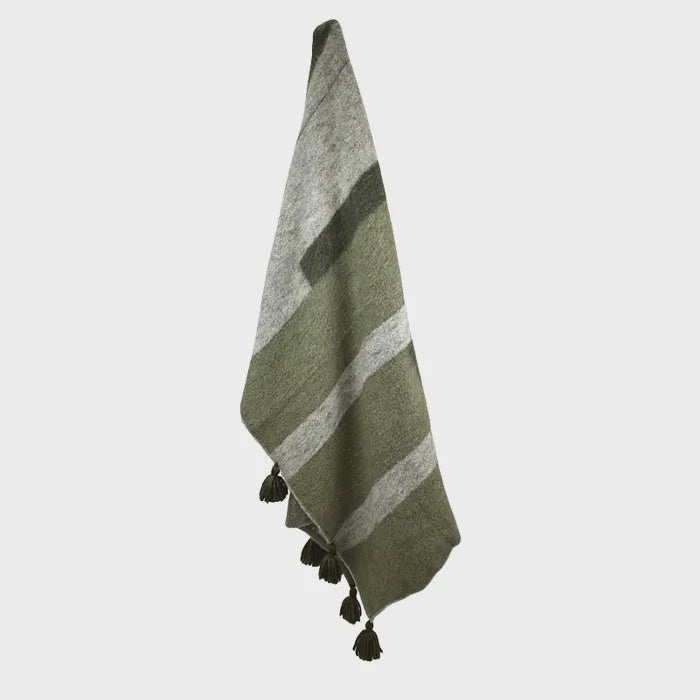 Loui Wool Blend Throw Green + Natural 125cmx150