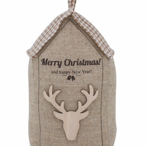 Christmas Door Stop Beige/Grey 27cm