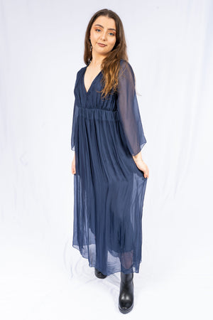 Tori Navy Silk Sleeved Dress