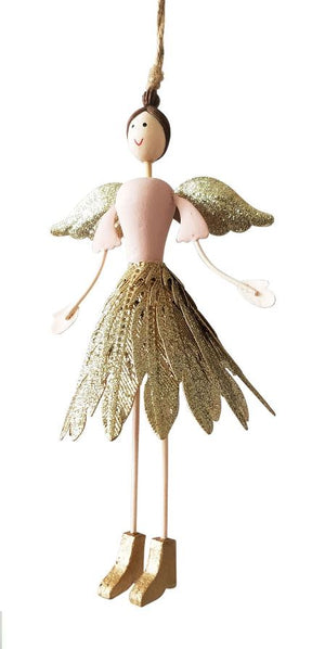 Angel with glitter feather skirt