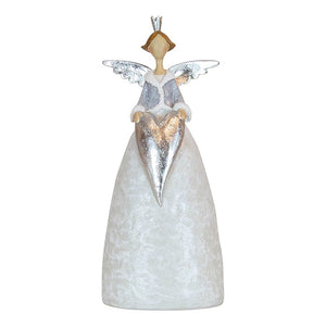 Resin Grey Silver Angel with Heart Large