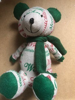 Linen Bear Red/Green 22cm