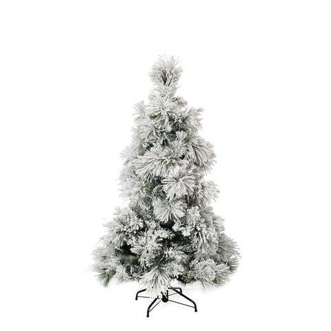 Flocked Pine Christmas Tree White 152cm