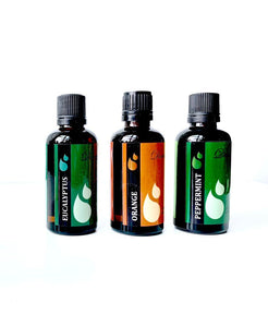 Pure Peppermint-Eucalyptus-Lemon or Orange Essential Oils