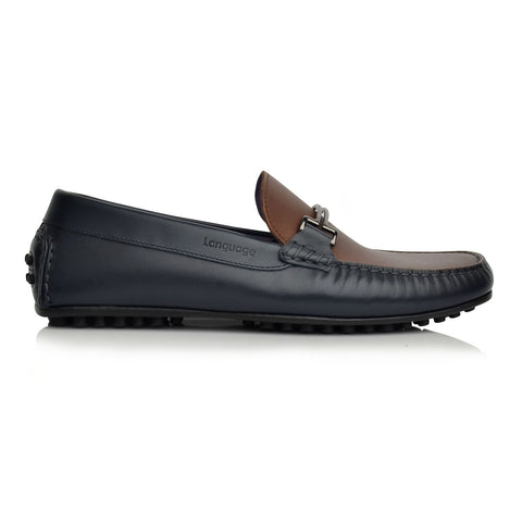 LM598 Language CODE Men's NAVY / BROWN Casual LOAFERS