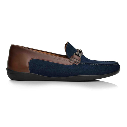 LM871 Language WATCH Men's NAVY / BROWN Casual LOAFERS