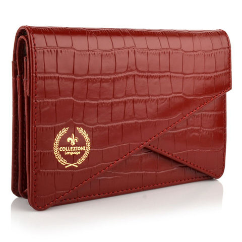 LG16002 - Collezione Lyon Women's Deep Red Clutch Bag