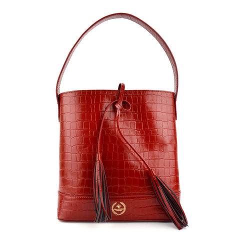 LG16004 - Collezione Calais Women's Deep Red Bucket Bag