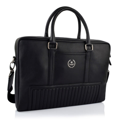 LG16046 - Collezione Manhattan Men's Black Briefcase Bag