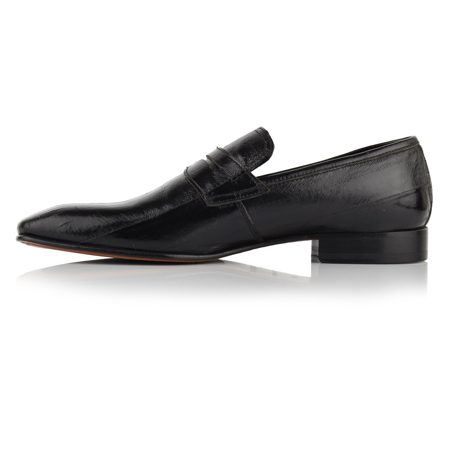 LM140 - Language Men's Exotic Black Loafer Shoes