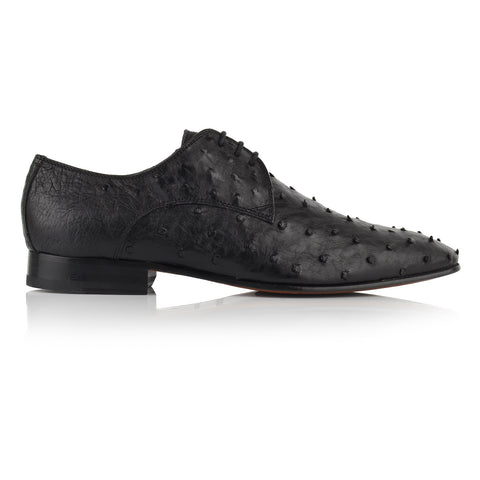 LM143 - Language Men's Exotic Black Derby Shoes